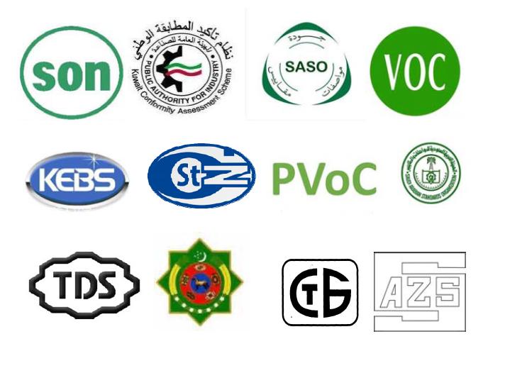 乌兹别克斯坦认证,白俄罗斯认证/STB认证,阿塞拜疆认证,土库曼斯坦认证,伊拉克COC认证 、伊朗COI认证、埃及COC认证 、利比亚COI 认证、尼日利亚SONCAP认证、肯尼亚PVOC认证、坦桑尼亚PVOC、乌干达PVOC、加蓬,卡塔尔,科威特,博茨瓦纳,菲律宾,尼日尔,津巴布韦,沙特,伊拉克,伊朗,埃及,利比亚等认证等等